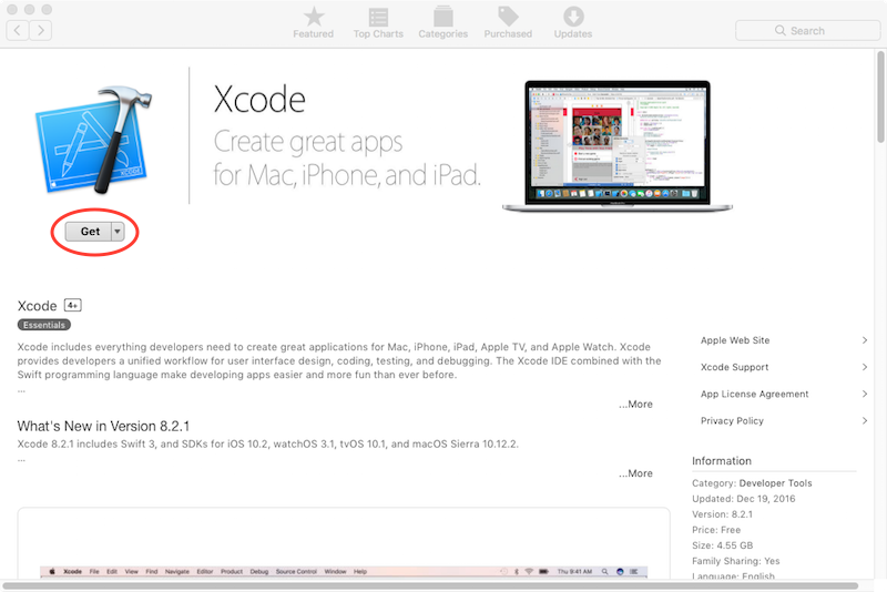 download xcode for os x 10.12
